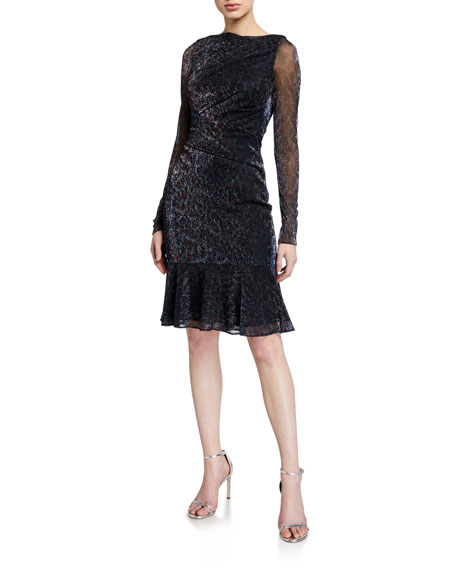 Talbot Runhof Metallic Voile Ruched Dress