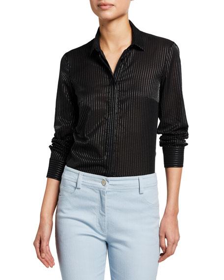 Akris punto Metallic-Striped Voile Shirt with Detachable Plastron