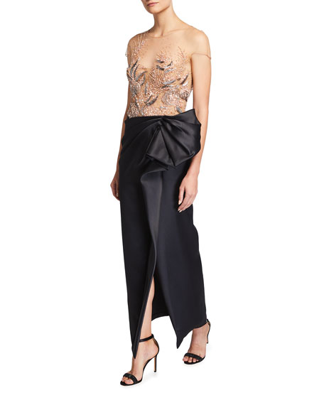 Marchesa Beaded-Embellished Illusion Satin Dress w/ Front Slit