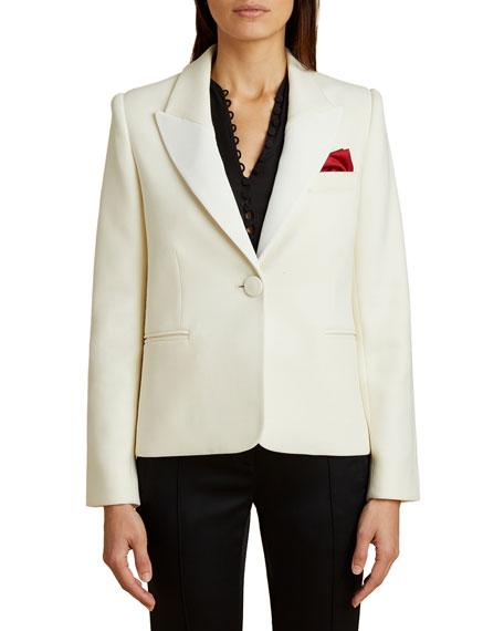 Khaite Brita Wool Twill Tuxedo Blazer