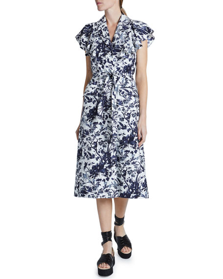 Erdem Jocasta Toile Flutter-Sleeve Shirtdress