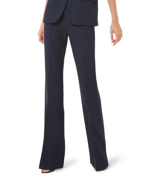 Michael Kors Collection Side Zip Crepe Flare Pants