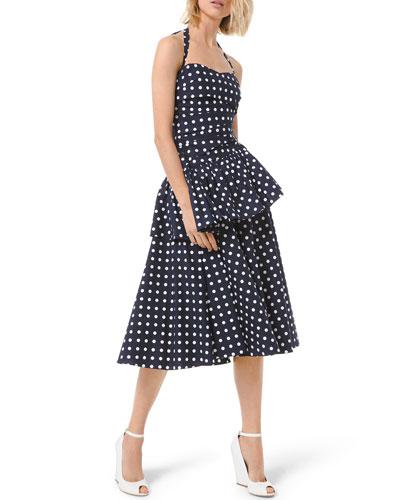 Silk Dot Ruched Peplum Halter Dress