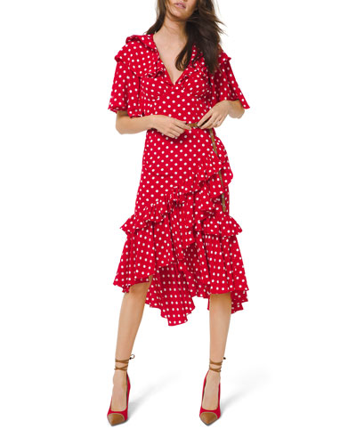 Dot Asymmetric Ruffle Dress