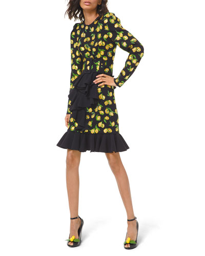 Lemon Crystal-Beaded Ruffle Dress with Belt
