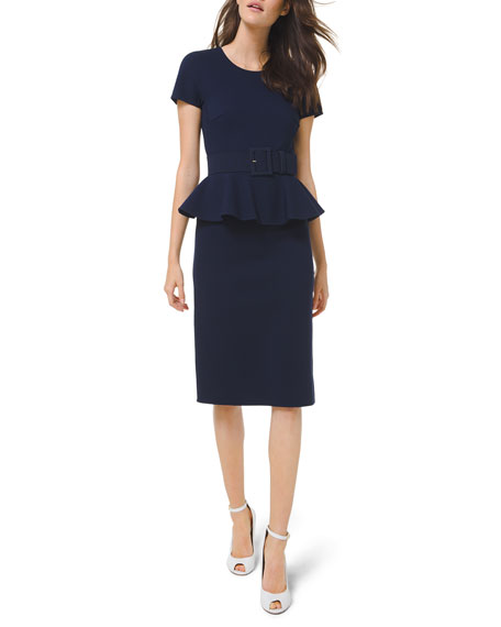 Michael Kors Collection Double-Faced Peplum Sheath Dress with Belt