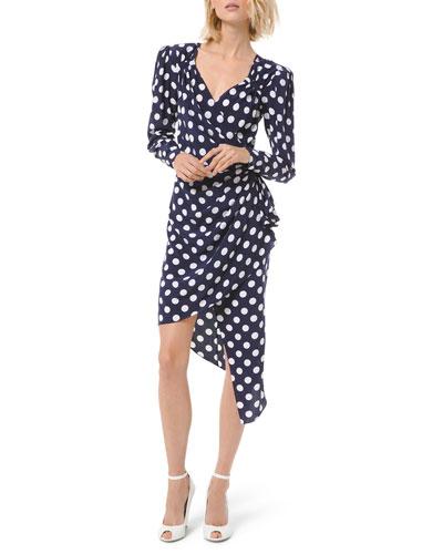 Silk Dot Asymmetric Wrap Dress