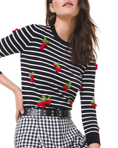 Cherry Embellished Stripe Sweater