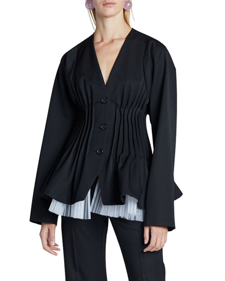 Nina Ricci Silk Pleated-Waist Jacket