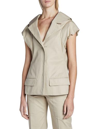 Short-Sleeve Cotton Blazer Jacket