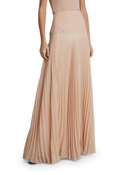 Chloe Pleated Crepe A-Line Skirt