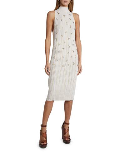Embroidered Silk-Cotton Sleeveless Halter Dress