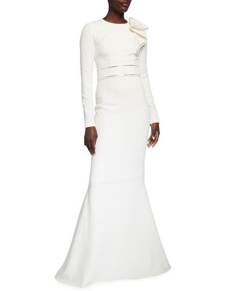 Safiyaa Long-Sleeve Heavy Crepe Embellished Gown