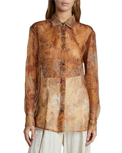 Floral Print Sheer Cotton Shirt