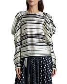 Dries Van Noten Coal Striped Ruffle-Sleeve Shirt