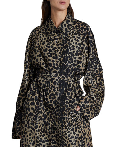 Leopard Print Long Rain Coat