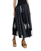 Dries Van Noten Polka-Dot Pleated Maxi Skirt