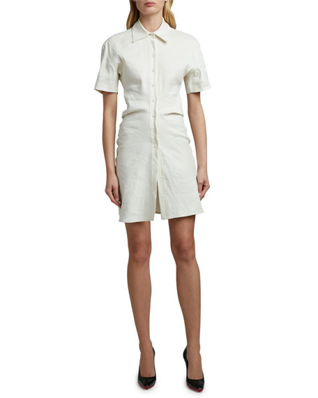 Off-White Draped Linen Short-Sleeve Shirtdress