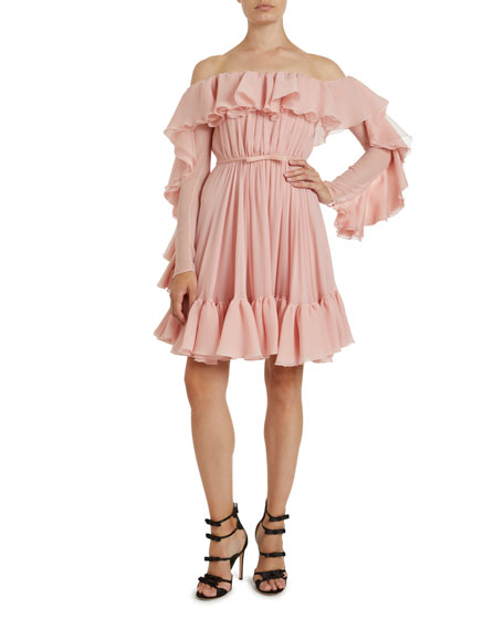 Giambattista Valli Frilled Silk Off-the-Shoulder Dress