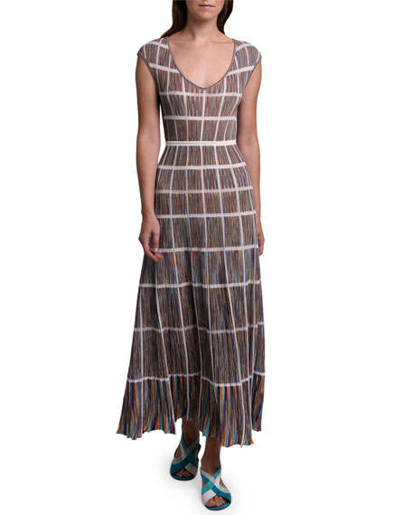 Missoni Windowpane Knit Cap-Sleeve Dress