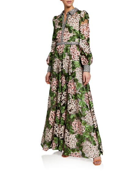 Badgley Mischka Couture Floral Print Shirtwaist Gown