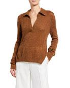 Khaite Cass Cashmere Polo Sweater