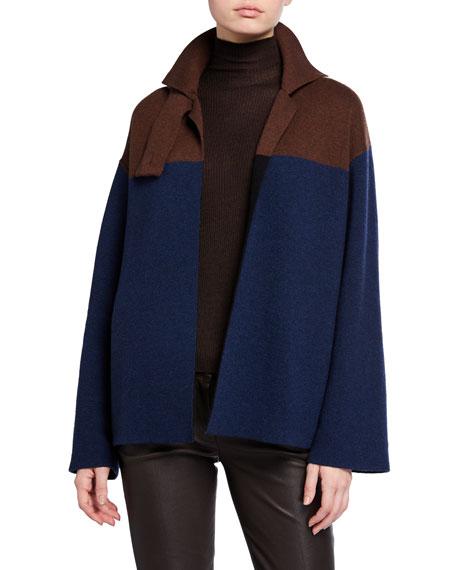Akris Reversible Colorblock Tab-Closure Cashmere Jacket