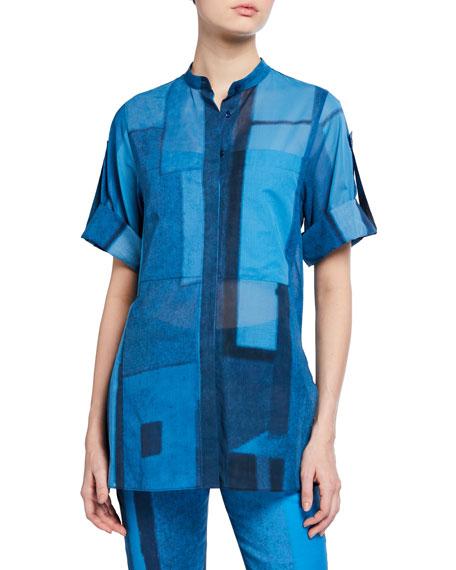 Akris Window-Print Button-Front Tunic