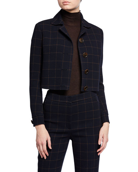 Akris Plaid Wool Short Jacket with Leather Trim