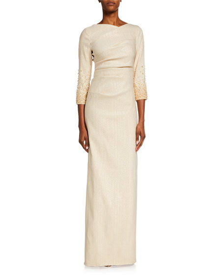 Rickie Freeman For Teri Jon Premier Jacquard 3/4-Sleeve Column Gown