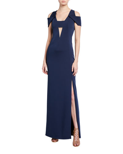 Silk Cold-Shoulder Gown, Navy