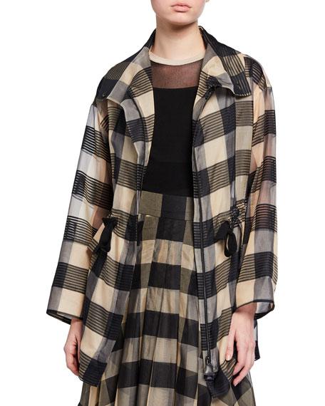 Akris Checked Silk Zip-Front Jacket
