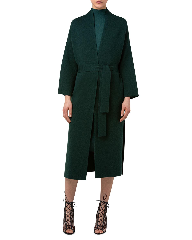 Wool-Silk Belted Kimono Long Cardigan