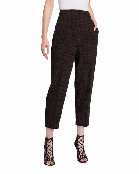 Akris Fedora Plaid Seersucker Crop Pants