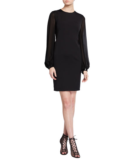 Akris Full-Sleeve Stretch Silk Dress