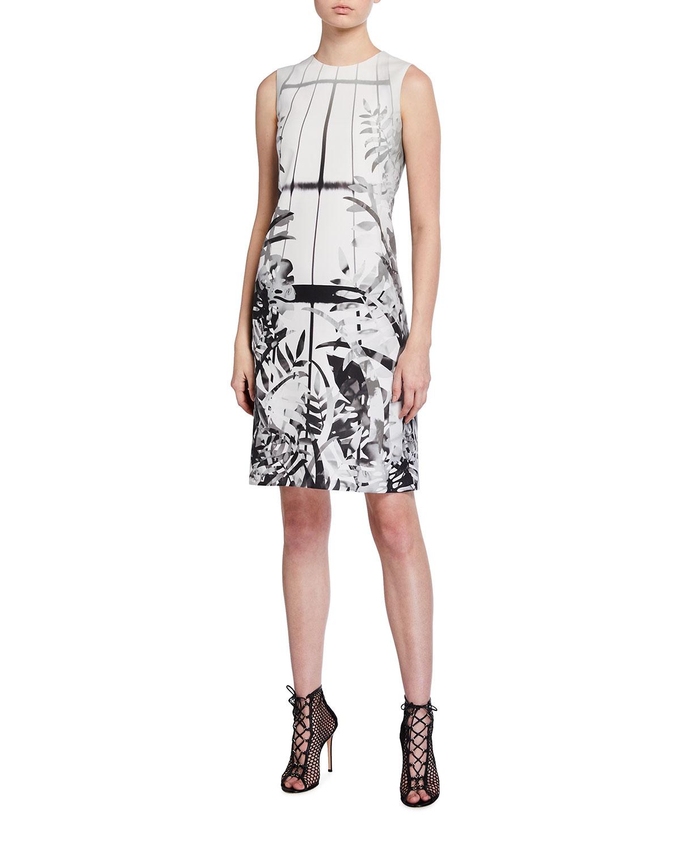 Leaf-Print Cotton-Silk Sheath Dress