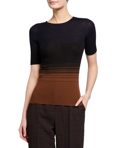 Akris Gradient Striped Short-Sleeve Sweater