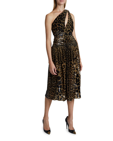 Saint Laurent Leopard Print Lame One-Shoulder Dress