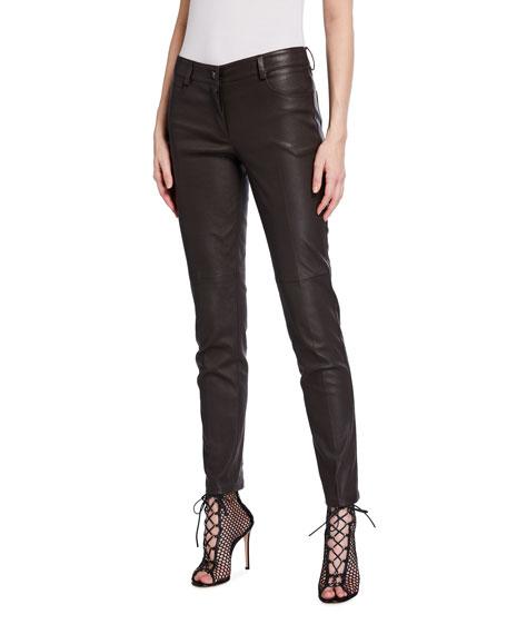 Akris Magda Slim Napa Leather Pants