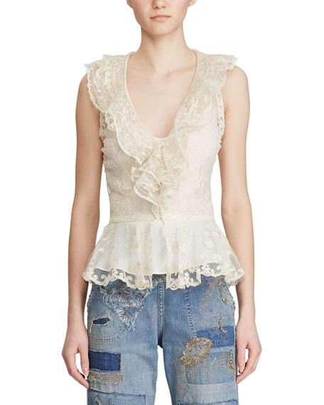 Ralph Lauren Collection Collisa Silk Lace Peplum Blouse