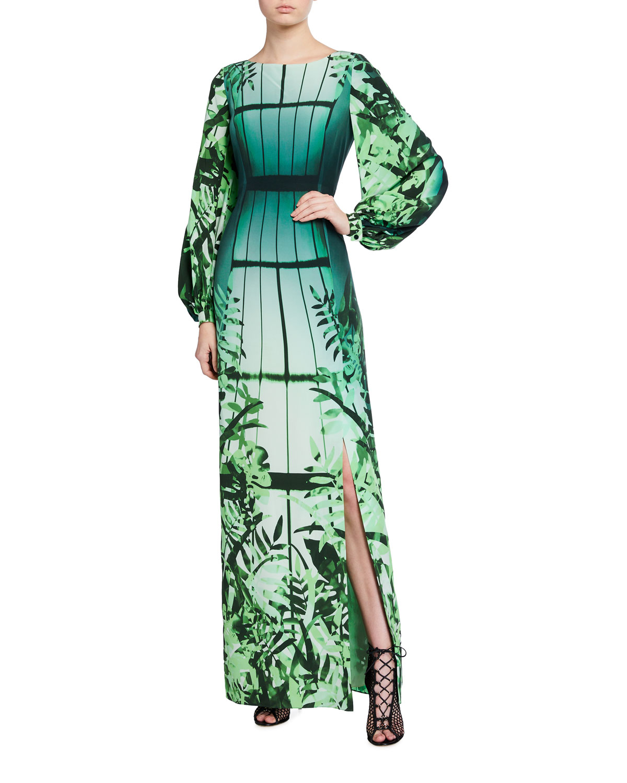 Long-Sleeve Leaf-Print Silk Gown