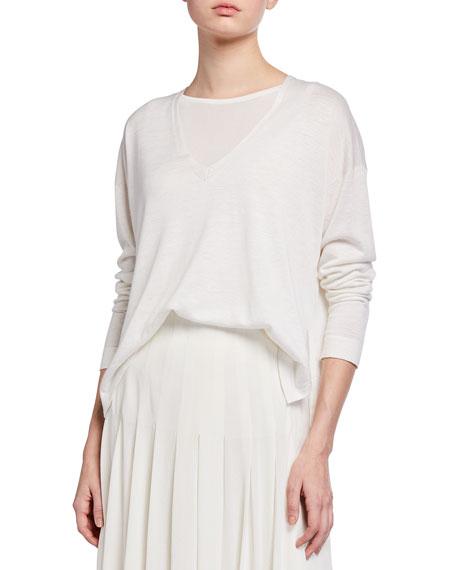 Akris V-Neck Silk-Linen Sweater