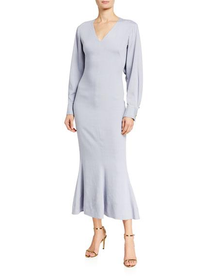 Brandon Maxwell Jersey Fluted-Skirt V-Neck Dress