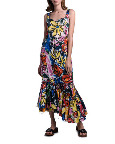 Floral Print Asymmetric Hem Dress