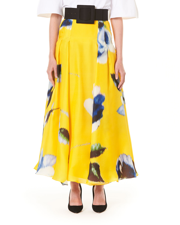Carolina Herrera Skirts FLORAL PRINT SILK A-LINE SKIRT