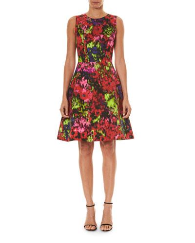 Floral Print Cotton-Silk A-Line Dress