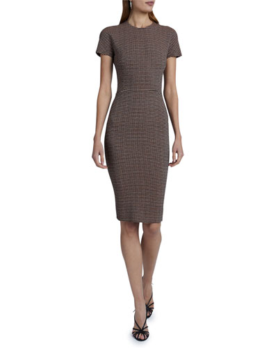 Short-Sleeve Fitted Sheath Dress