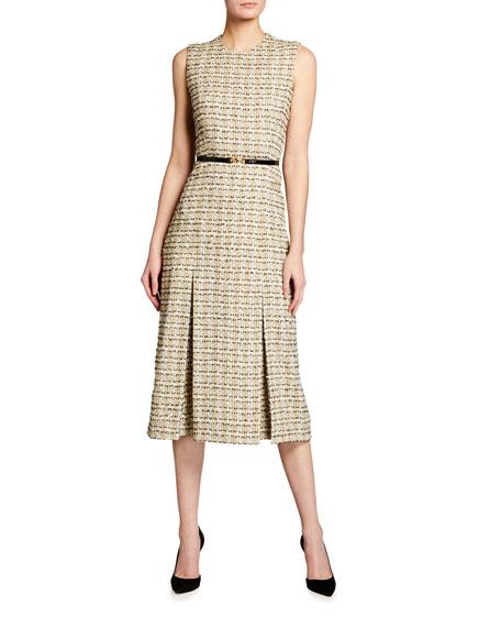 Victoria Beckham Pleated Cotton Midi Dress
