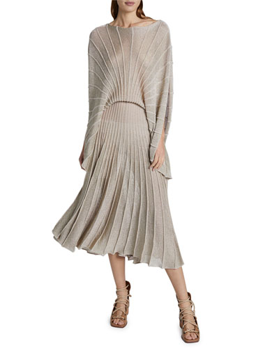 Metallic Pleated Boat-Neck Dress