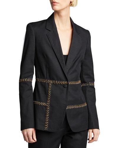 Cadmu Herringbone-Stitched Cotton Blazer